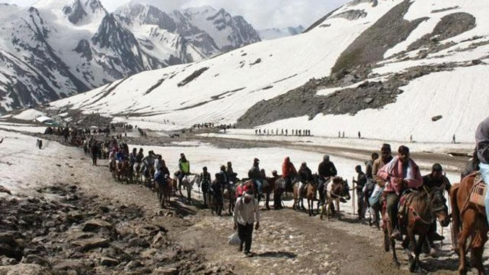 Pilgrims on way to Amarnath yatra on their mules against the backdrop of the Himalayas.
