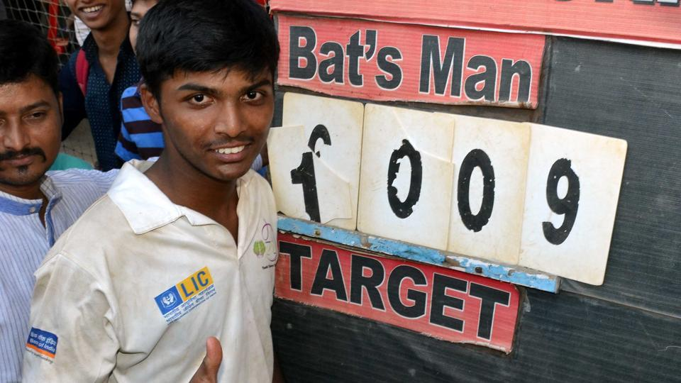 Pranav Dhanawade had broken the record of the highest individual score in any form of cricket when he scored 1009 runs in an inter-school match in Muimbai in January 2016.
