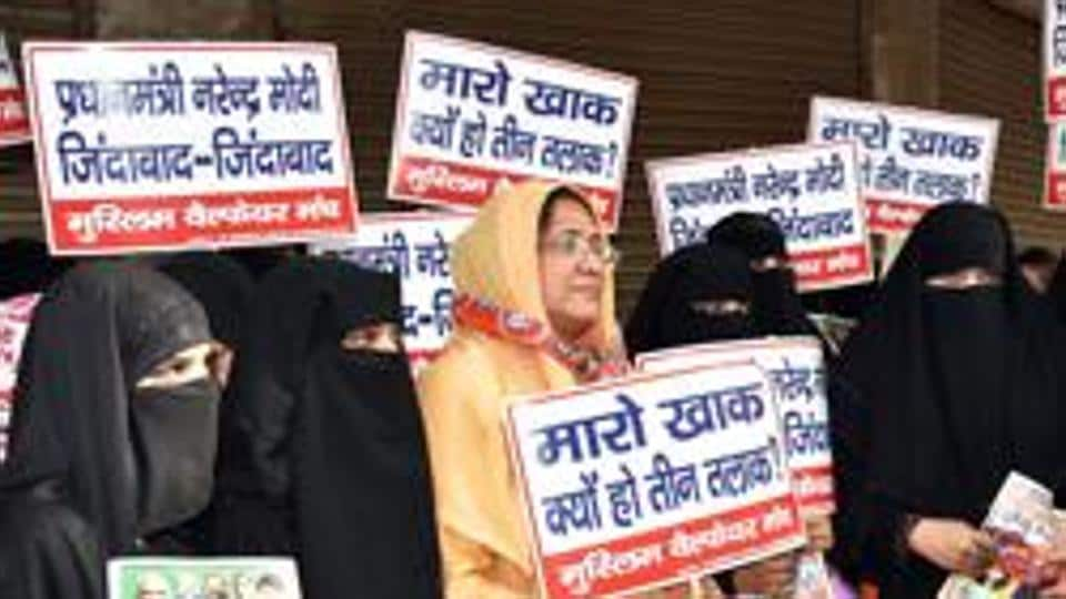 Muslims women hold placards against 'triple talaq in New Delhi .  Most educated Muslims despise the mad mullahs and believe that practices such as triple talaq are medieval.