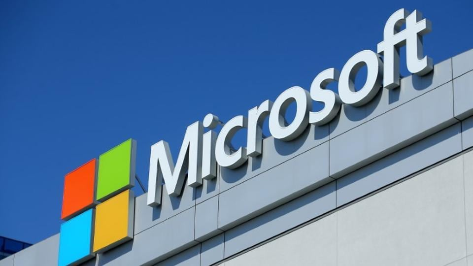 The Microsoft logo is shown on the Microsoft Theatre at the E3 2017 Electronic Entertainment Expo in Los Angeles, California, US