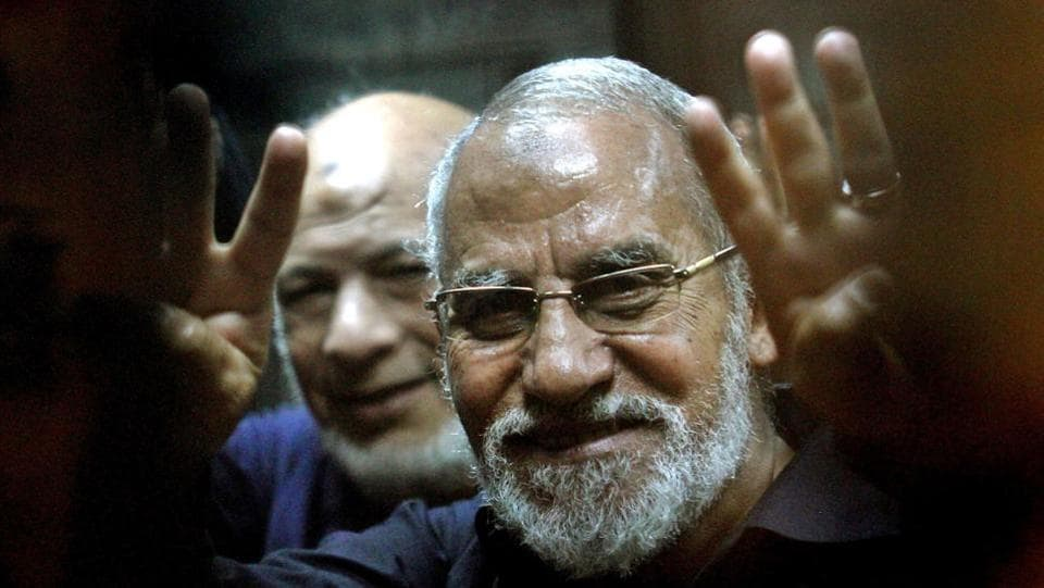 Muslim Brotherhood's supreme guide Mohamed Badie seen in 2013, during his trial at a police academy in Cairo.  Qatar's elimination of support for the Muslim Brotherhood also features on the list of demands put forward. Lebanon's Hezbollah and the al-Qaida branch in Syria also find mention as organisations that Qatar must cut ties with. (Tarek El-Gabass / AFP File)