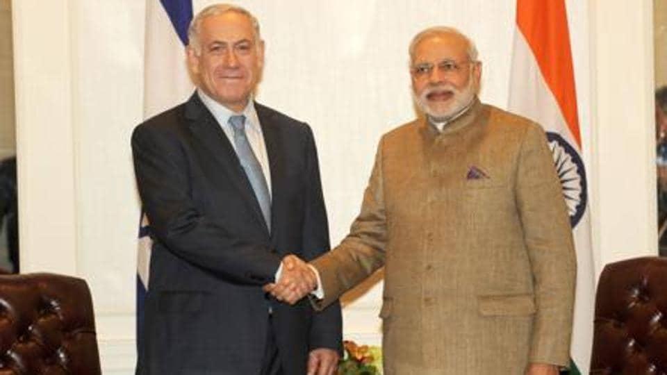 Israel PM Benjamin Netanyahu with Prime Minister Narendra Modi in New York.