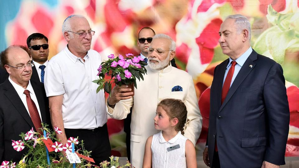 Prime Minister, Narendra Modi with his Israeli counterpart Benjamin Netanyahu,visiting the Danziger Flower Farm- a leading facility for R&D in plant varieties, in Tel Aviv, Israel on Tuesday.
