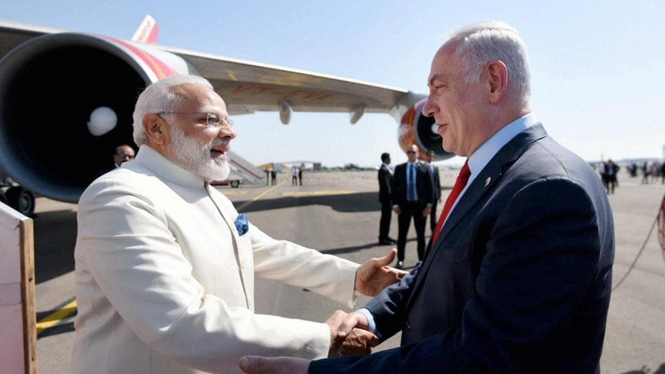 Prime Minister, Narendra Modi being received by the Prime Minister of Israel, Benjamin Netanyahu, on his arrival, at Ben Gurion Airport, in Tel Aviv , Israel on Tuesday.