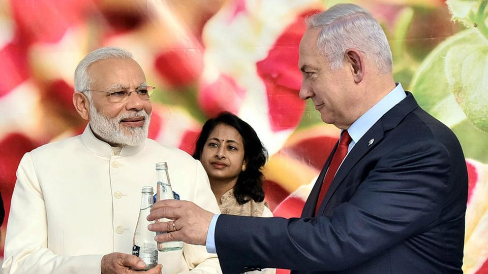 Prime Minister Narendra Modi with his Israeli counterpart Benjamin Netanyahu, visiting the Danziger Flower Farm- a leading facility for R&D in plant varieties, in Tel Aviv, Israel on Tuesday.