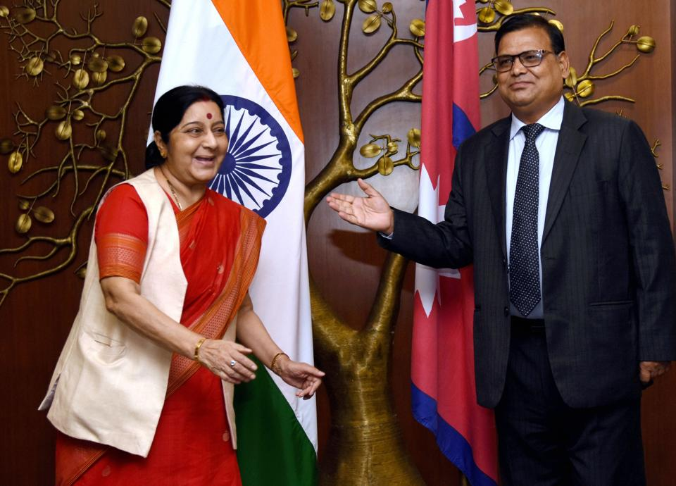 External affairs minister Sushma Swaraj with Krishna Bahadur Mahara, Nepal's deputy prime minister and foreign minister, before a meeting in New Delhi on July 3, 2017.