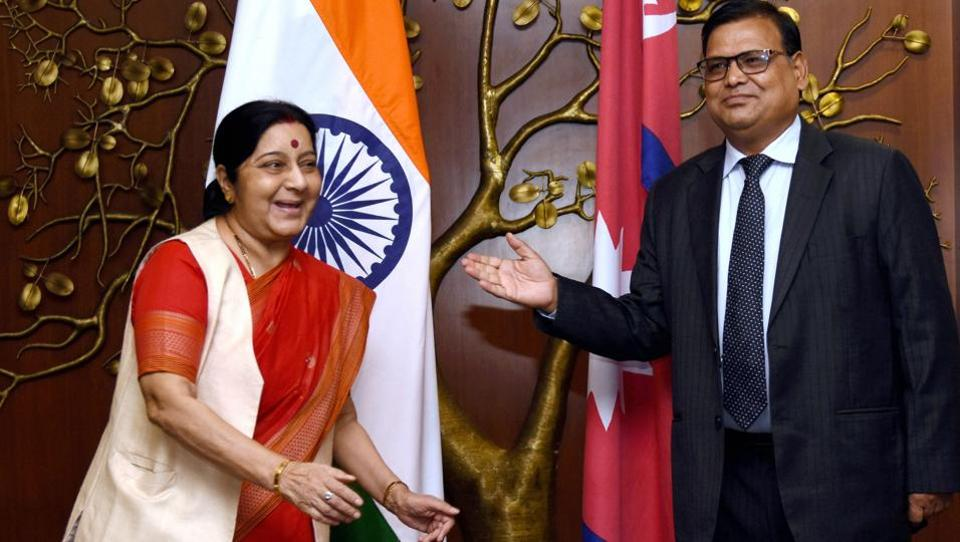 External affairs minister Sushma Swaraj with Nepal's foreign minister Krishna Bahadur Mahara in New Delhi on July 3, 2017.