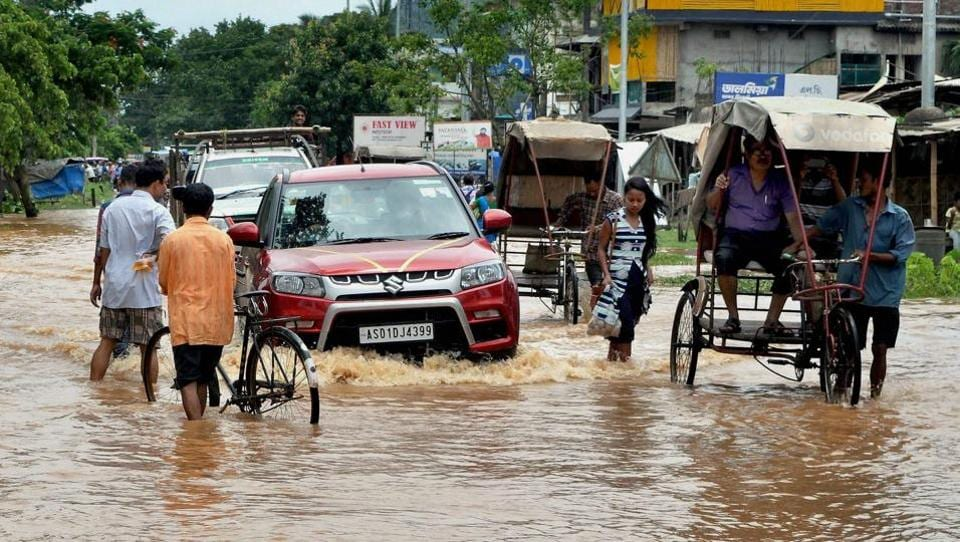 The flood has affected several roads in the state, and bridges have been damaged in Barpeta, Lakhimpur, Dhemaji, Karbi Anglong and Biswanath . (PTI)