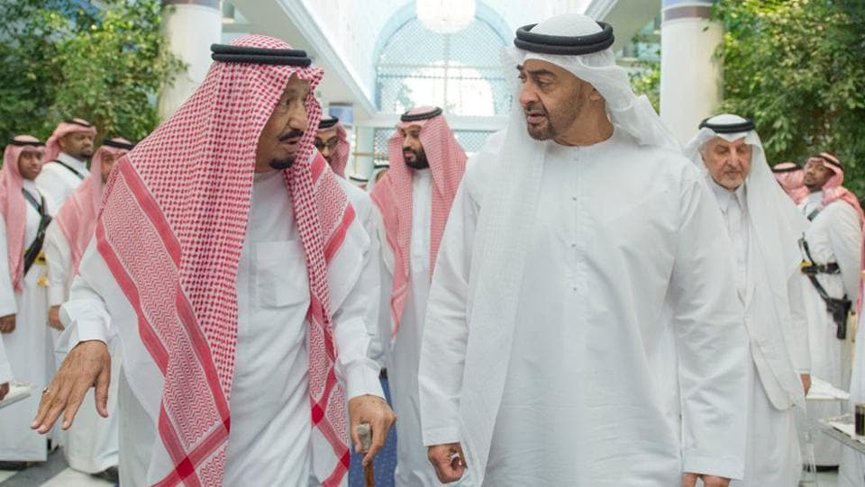 Saudi King Salman bin Abdulaziz Al Saud (L), talks to Sheikh Mohammed bin Zayed Al Nahyan, Abu Dhabi's Crown Prince and Deputy Commander in Chief of the Emirates Armed Forces in Jeddah, Saudi Arabia. Four Arab nations cut diplomatic ties to Qatar on June 5, 2017, further deepening a rift among Gulf Arab nations over the country's alleged support for Islamist groups and its ties with Iran. (Saudi Press Agency / AP)
