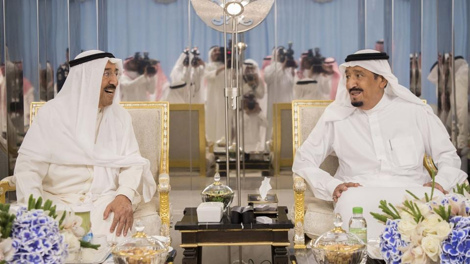 Saudi's King Salman bin Abdulaziz al-Saud (R) meeting with Kuwait's Emir Sheikh Sabah al-Ahmad al-Jaber al-Sabah in the Red Sea city of Jeddah. The Emir travelled to Saudi Arabia for talks aimed at resolving the crisis between Qatar and its Gulf neighbours and has been acting as a mediator. (Bandar Al-Jaloud / AFP)