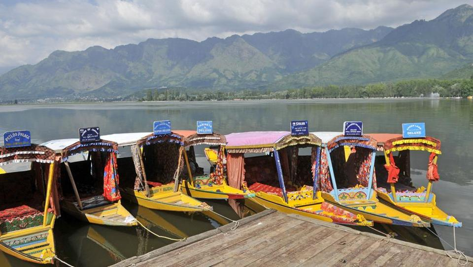 Shikara boats are lined up on the Dal Lake.