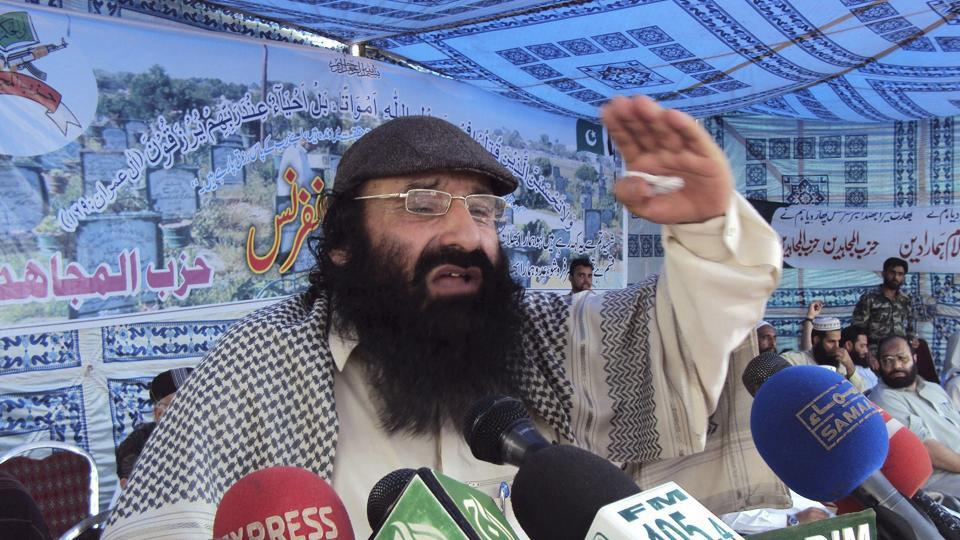 In this July 13, 2011 file photo, Syed Salahuddin, supreme commander of Hizbul Mujahideen, addresses his supporters in Muzaffarabad, Pakistan.