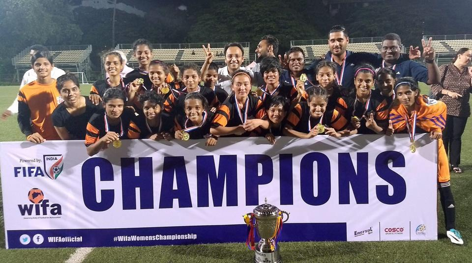FC Pune City players celebrate after winning WIFA Women's Championship 2017 in Mumbai on Tuesday.