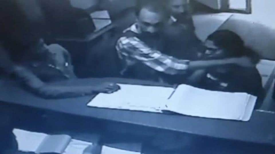 A CCTV screengrab of the couple who was allegedly denied room at a hotel in Bengaluru.