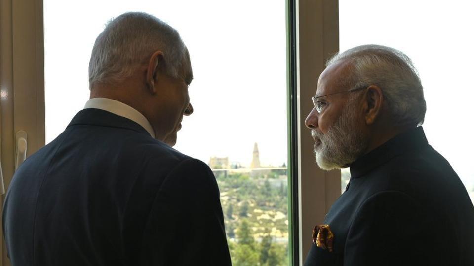 Israeli Prime Minister Benjamin Netanyahu with Prime Minister Narendra Modi in Tel Aviv on July 5, 2017.