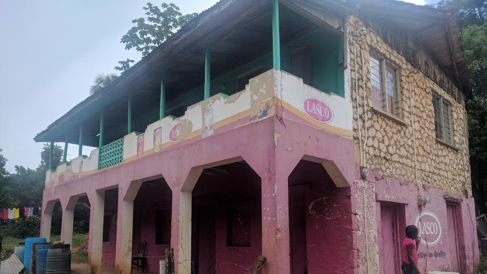 Bolt senior's grocery store, painted in pink, where he sold provisions -- meat, fish, rice etc -- for 15 years shut down last week (Ht Photo)