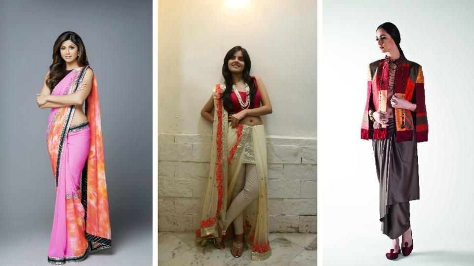 Glam up your outfit by draping a sari in different styles.