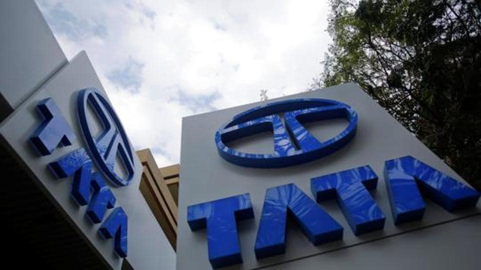 Tata Motors logos seen at their flagship showroom in Mumbai.