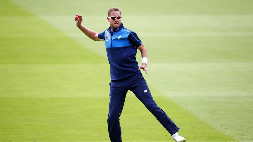 England's Stuart Broad during nets ahead of the first Test against South Africa.