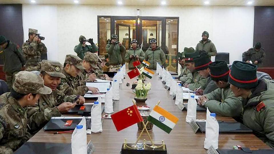 Indian and Chinese army personnel at a Ceremonial Border Personnel Meetings, Chushul in Eastern Ladakh.