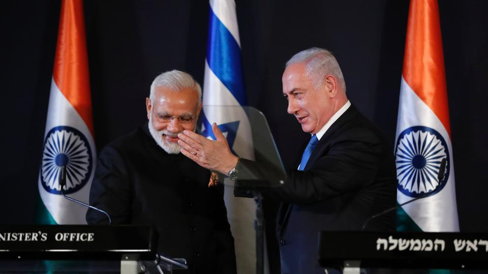 Prime Minister Narendra Modi addresses a press conference with his Israeli counterpart Benjamin Netanyahu in Jerusalem on July 5, 2017.