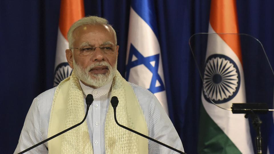 Prime Minister Narendra Modi at the joint press conference with Israeli Prime Minister Benjamin Netanyahu in Jerusalem on July 4, 2017.