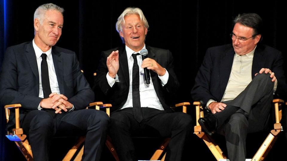 A film is going to be made on the rivalry of tennis greats John McEnroe (L) and Bjorn Borg (C).