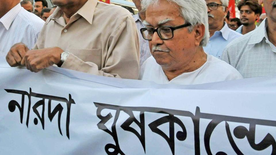 Left Front leaders participate in a rally demanding arrest of Trinamool Congress leaders accused in Narada sting case.