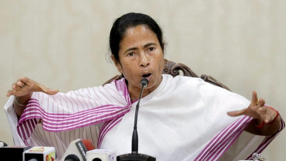 West Bengal chief minister Mamata Banerjee during a press conference at the State Secretariat in Kolkata on Tuesday.