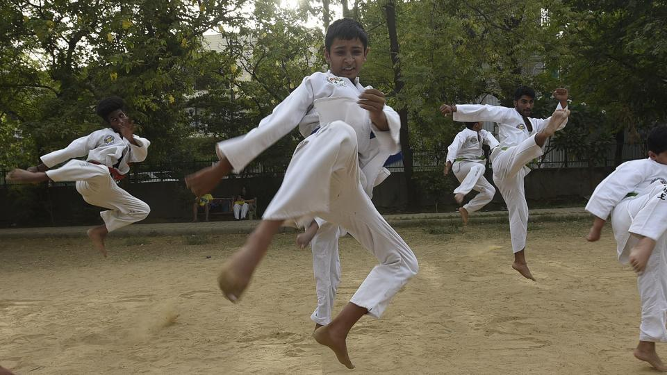 More than building power or strength, the core values of taekwondo lie in moral austerities and obtaining a high level of reaction force, concentration and equilibrium.  (Sonu Mehta/HT PHOTO)