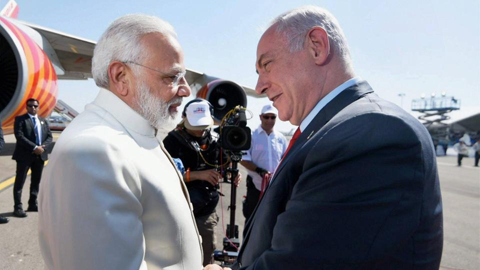 Prime Minister Narendra Modi being received by the Prime Minister of Israel Benjamin Netanyahu, on his arrival at Ben Gurion Airport,  as part of a three day state visit -- the first by an Indian Premier to the Middle Eastern state since the two countries established diplomatic ties in 1992.
