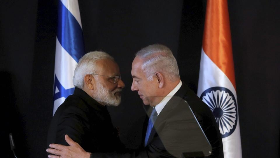 Prime Minister Narendra Modi shakes hands with Israeli Prime Minister Benjamin Netanyahu during their meeting at the King David hotel in Jerusalem on Wednesday.