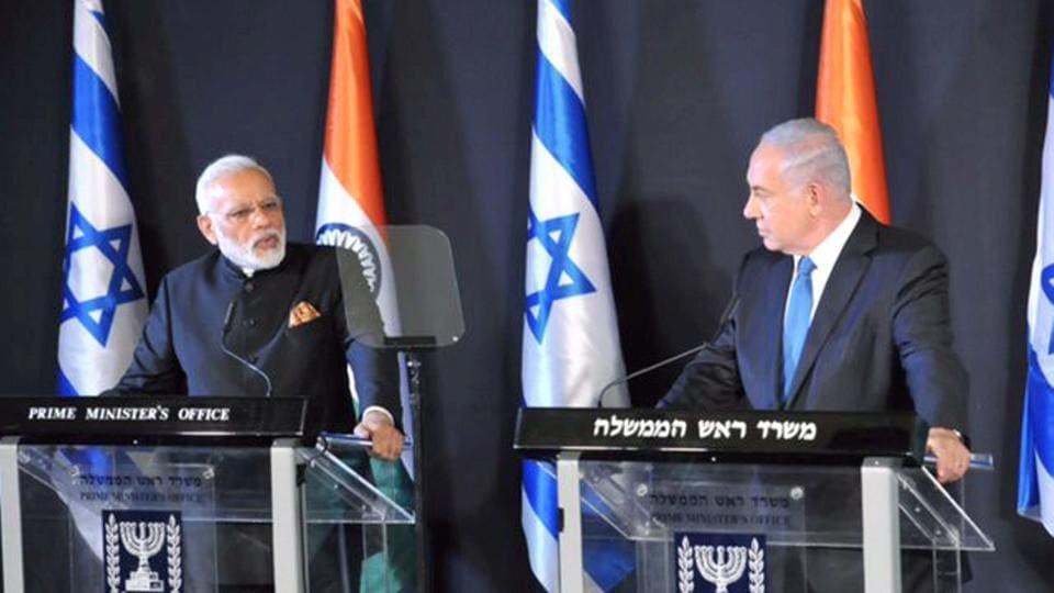 PM Narendra Modi speaks during a joint press conference with his Israeli counterpart Benjamin Netanyahu in Jerusalem, Israel.