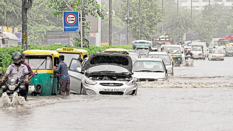 Waterlogging on Ring Road near ITO in June 2016.