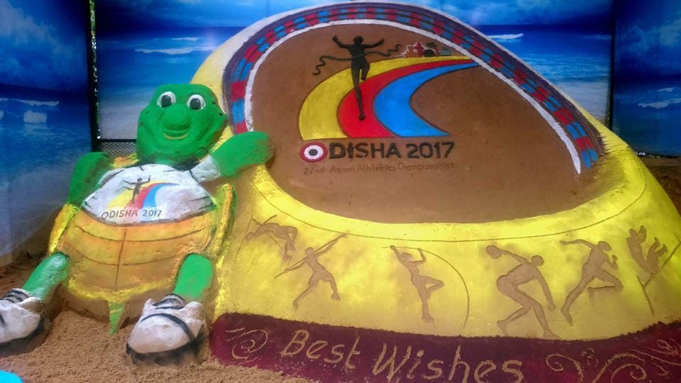 A sand sculpture-based on the upcoming 22nd Asian Athletics Championships made by sand artist Subal Maharana, in Bhubaneswar.