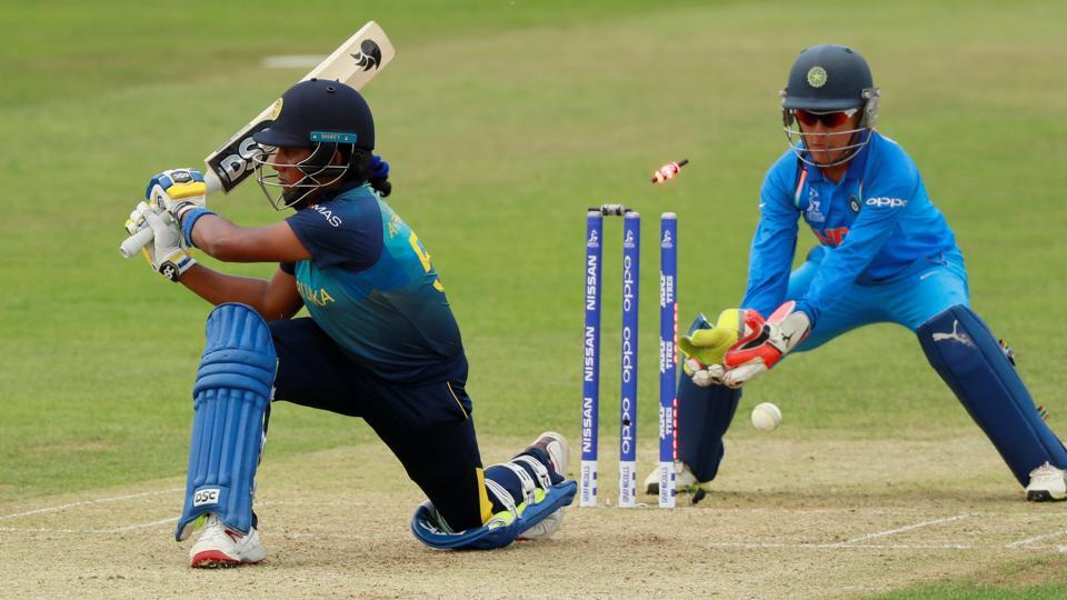 Sri Lanka's Chamari Athapaththu is bowled out by India's Poonam Yadav. (Action Images via Reuters)