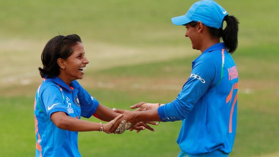 India's Poonam Yadav celebrates with Harmanpreet Kaur after taking the wicket of Sri Lanka's Chamari Athapaththu. (Action Images via Reuters)