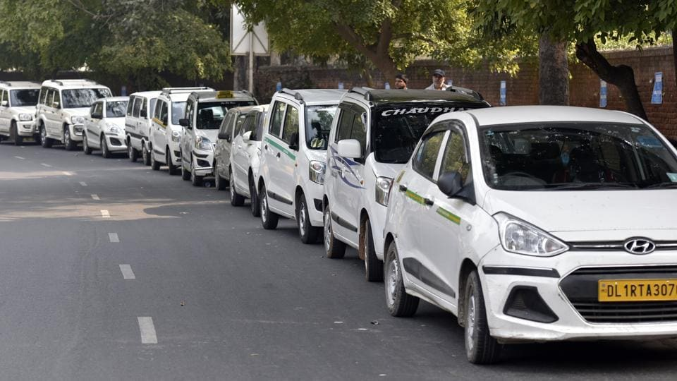 Ola and Uber taxi strike against withdrawal of driver incentives, and other demands at Tolstoy Marg near Jantar Mantar in New Delhi on Sunday, February 12, 2017.