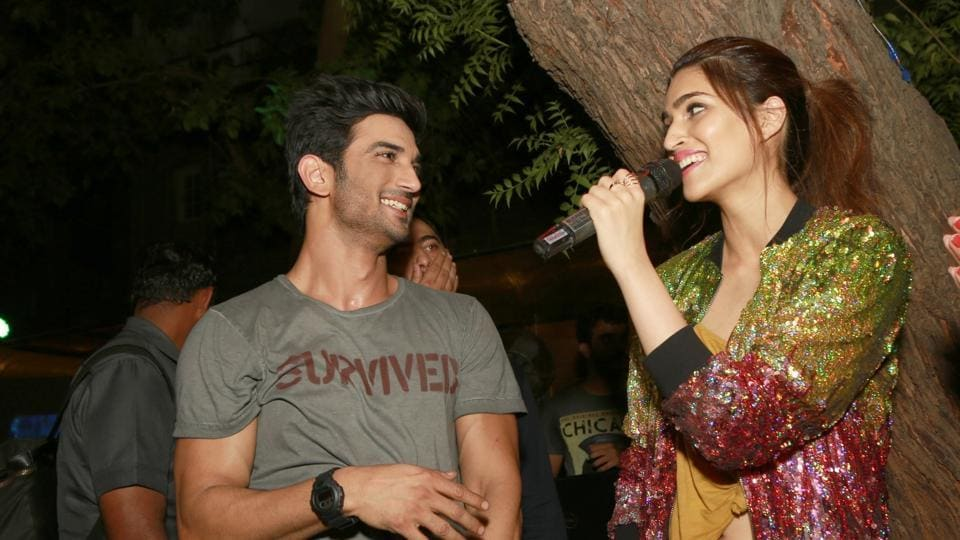 Sushant Singh Rajput and Kriti Sanon during the promotion of Raabta in New Delhi on June 7, 2017.