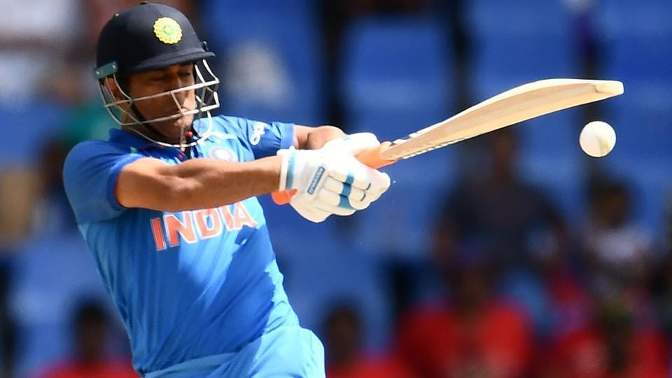 India's MS Dhoni plays a shot during the fourth One Day International (ODI) match against West Indies.