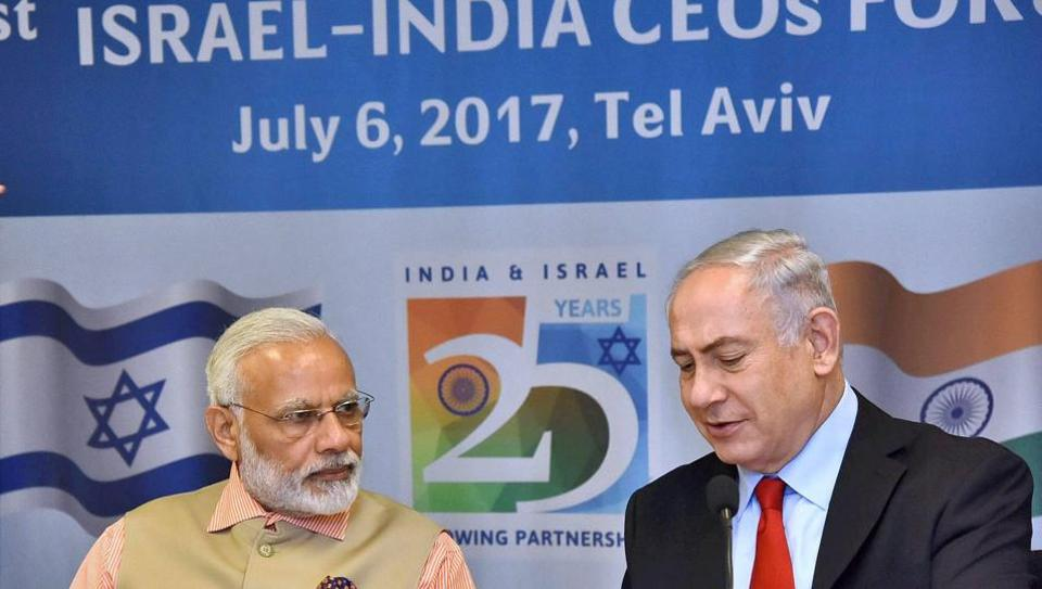 Prime Minister Narendra Modi and his Israeli counterpart Benjamin Netanyahu at the 1st Israel - India CEOs Forum in Tel Aviv, Israel on July 6.