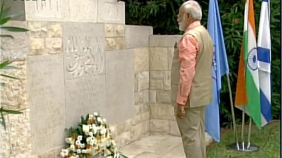 Modi visited the cemetery on the last day of his visit to Israel.