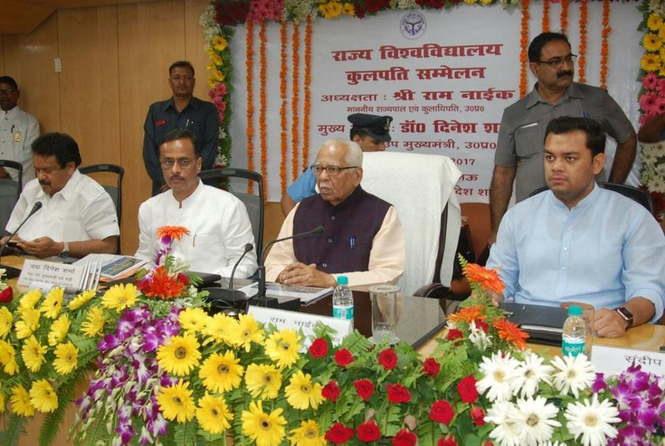 UP governor Ram Naik (third from left) and UP deputy chief minister Dinesh Sharma (second from left) at the vice chancellor's conference which began on Thursday