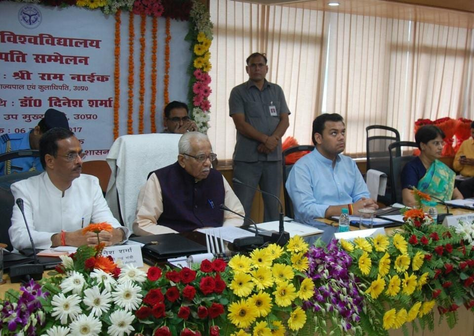 Deputy chief minster Dinesh Sharma (left) and UP governor Ram Naik (second from left) at the vice chancellor's conference in Lucknow  on Thursday.
