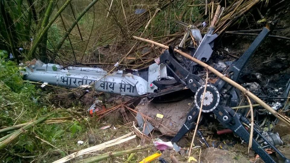 Wreckage of the helicopter which went missing in Arunachal Pradesh.