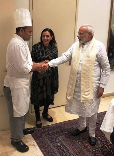 An overawed chef Dharmendra Panwar during his meeting with Prime Minister Narendra Modi in Israel.