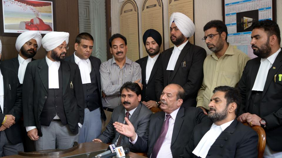 Punjab and Haryana High Court Bar Association president Anmol Rattan Sidhu (seated extreme right) with Pakistan Supreme Court advocate Khalid Jamil (second from right) and other members of the delegation in Chandigarh on Wednesday.