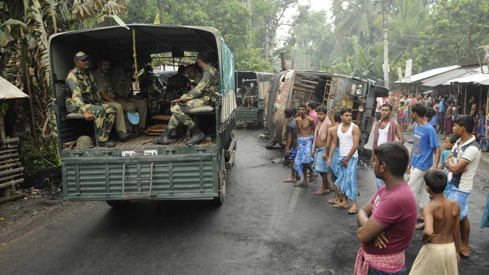 A security patrol in Basirhat subdivision in North 24 Parganas district which was ricked by violence this week.