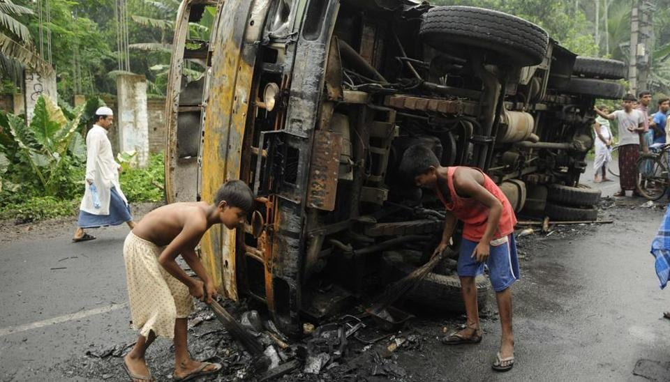 Tension prevailed across Basirhat subdivision in North 24 Parganas district of West Bengal on Thursday.