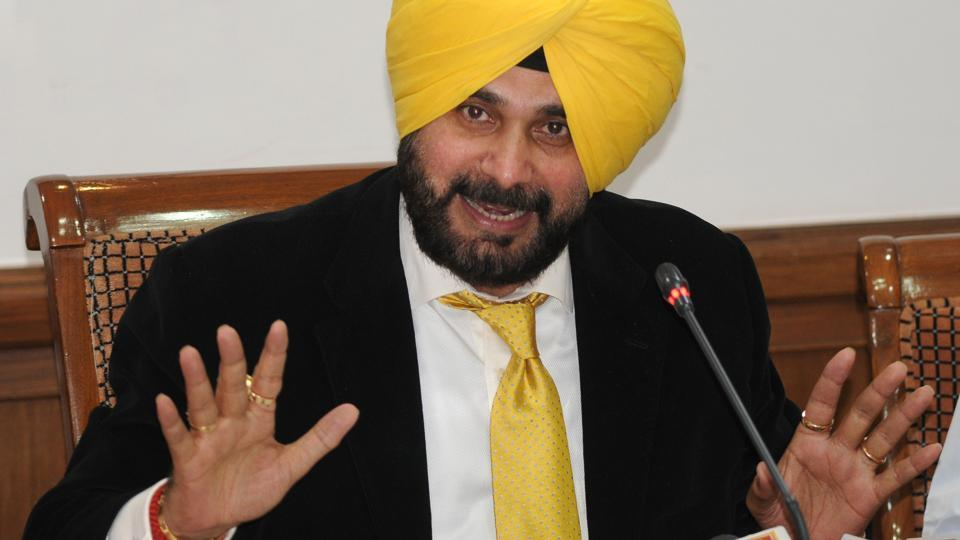 Punjab local bodies minister Navjot Singh Sidhu addresses to media during a press conference at Punjab Bhawan in Chandigarh on Thursday.